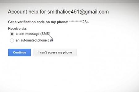 آنها گزینه بازیابی رمز عبور از طریق پیامک را انتخاب میکنند